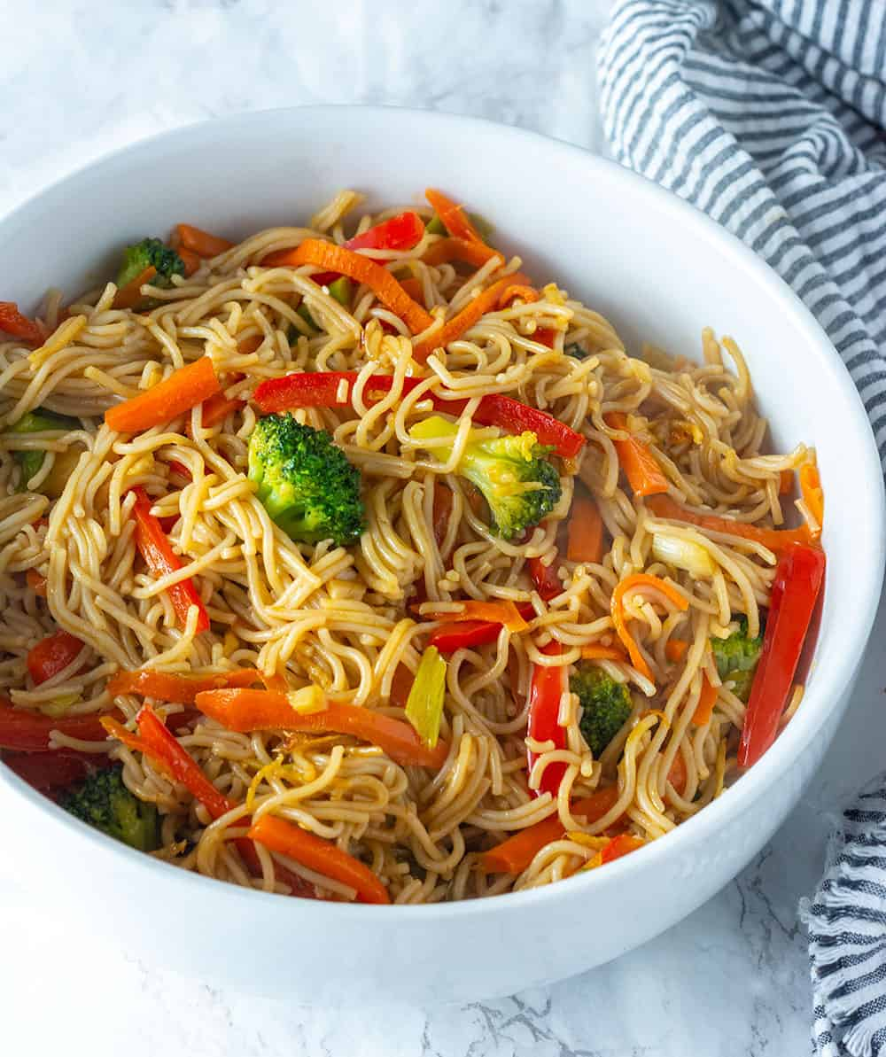 Vegetable Lo Mein in a white bowl