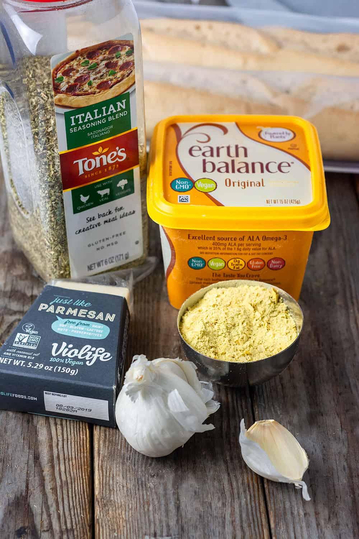 Garlic Butter Ingredients, vegan butter, vegan parmesan