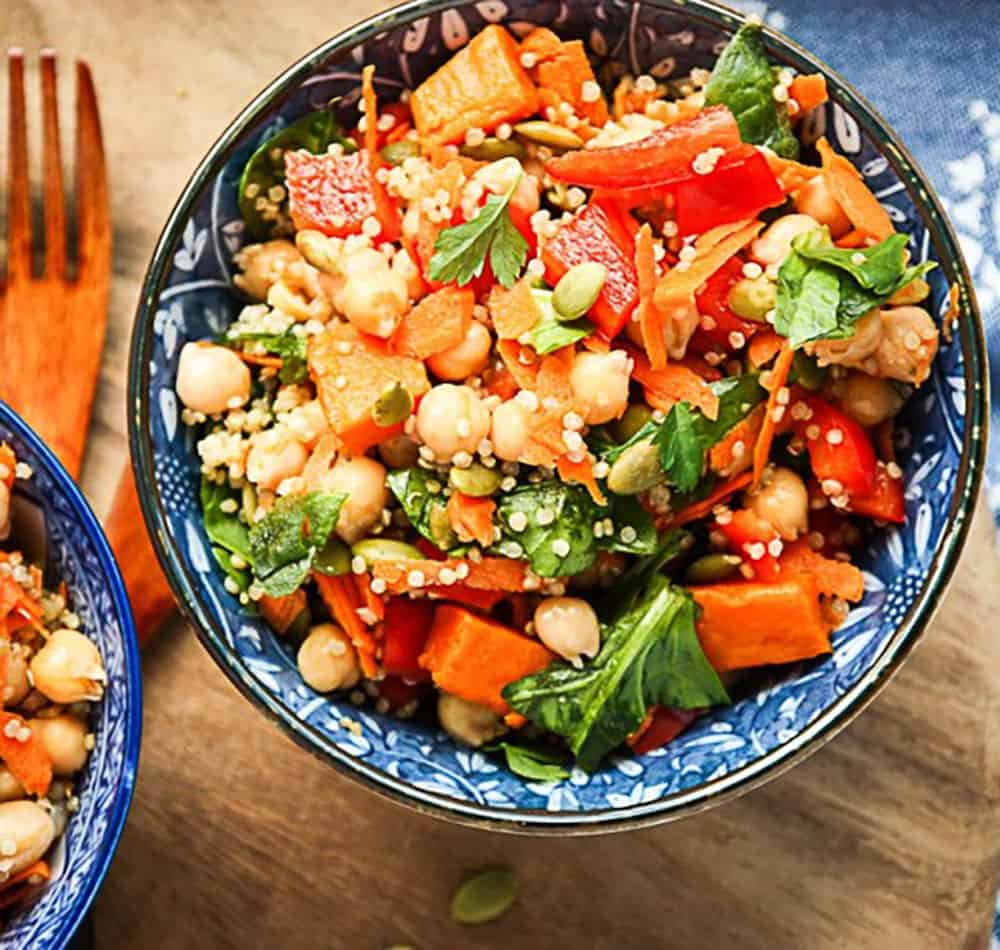 Sweet Potato Chickpea Salad In A Blue Bowl