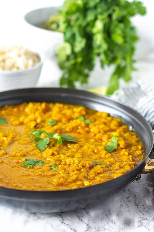 masoor dal in a black saucepan