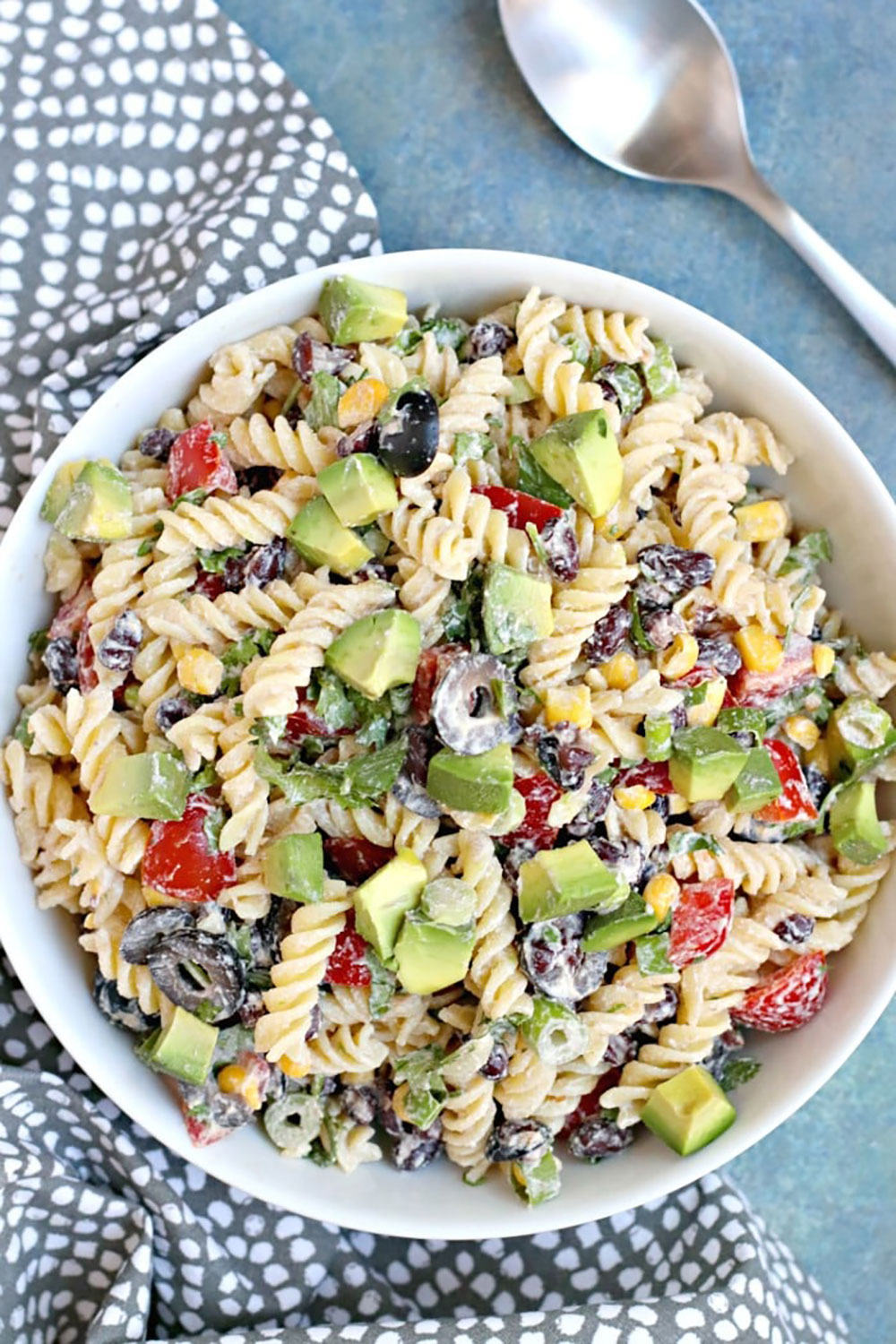 Southwest Pasta Salad with avocado, black beans, cherry tomatoes, corn