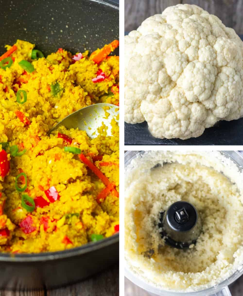collage showing how I made cauliflower rice, whole cauliflower, riced cauliflower and finished cauliflowers with bell pepper