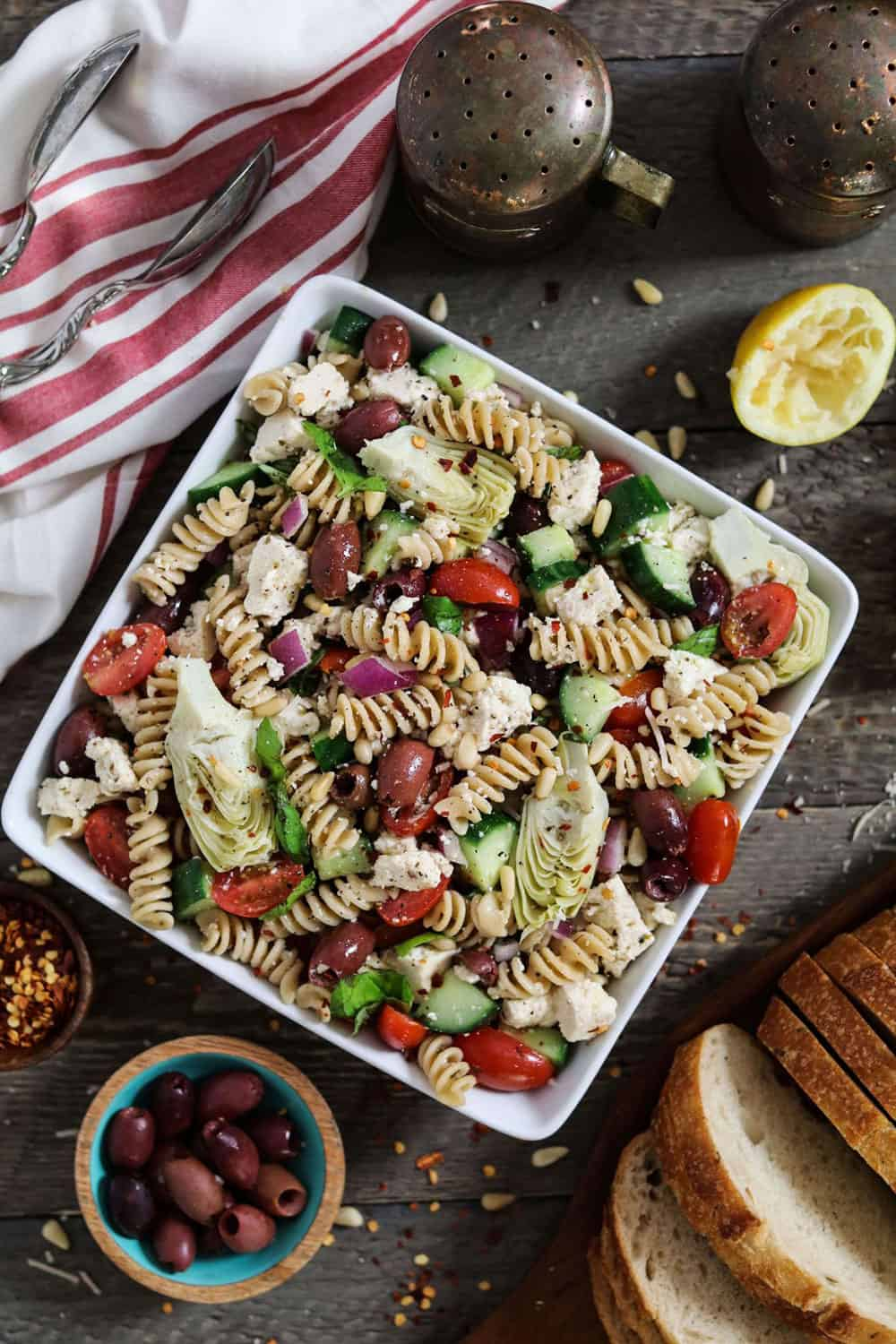 Mediterranean Pasta Salad with artichokes, tomatoes, olives