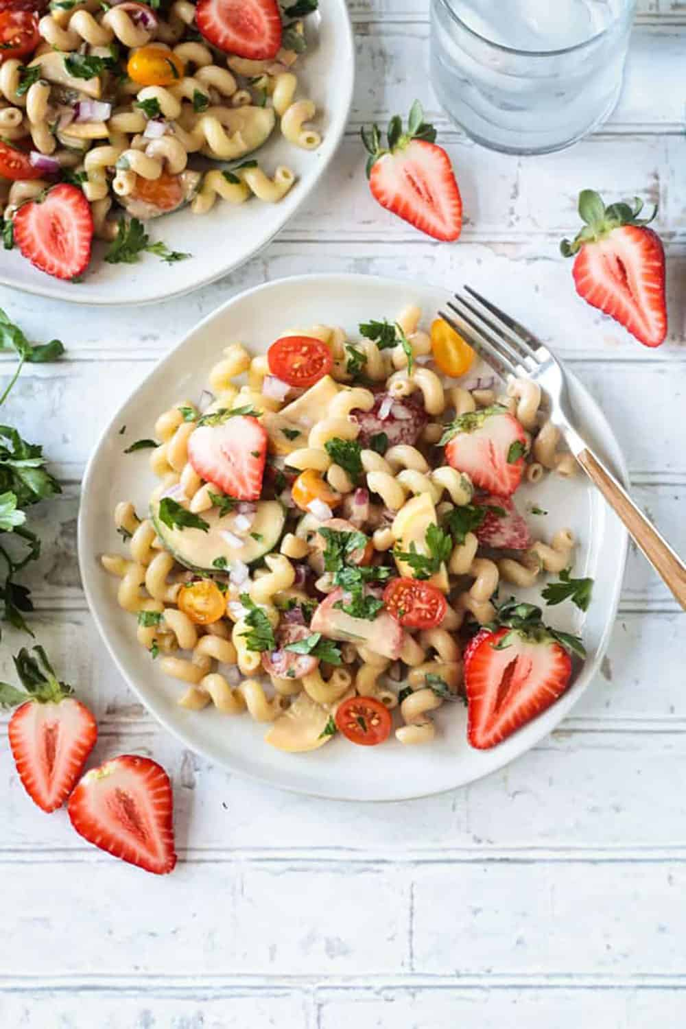 Balsamic Summer Pasta Salad with strawberries, olives, tomatoes