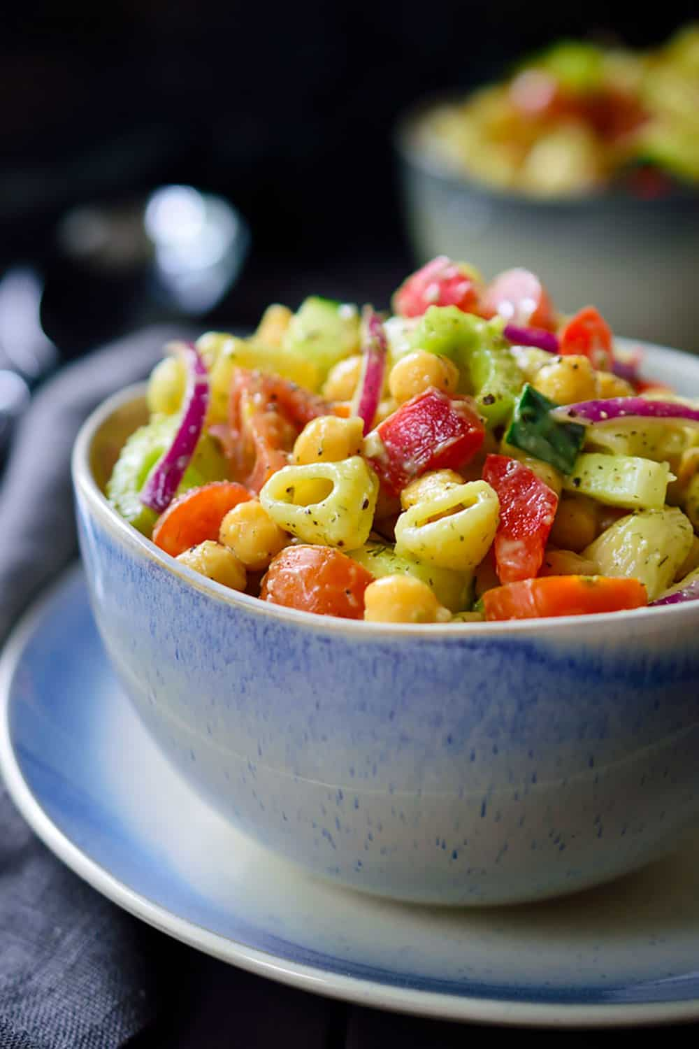 Avocado Pasta Salad with cherry tomatoes, red oions