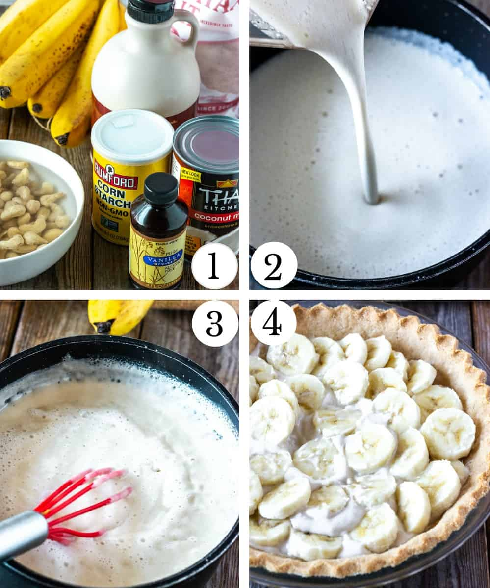 How to make vegan banana cream pie, photo collage with ingredients, blended vegan pudding, cooking pudding and layering of pudding with banana slices, in a pie crust