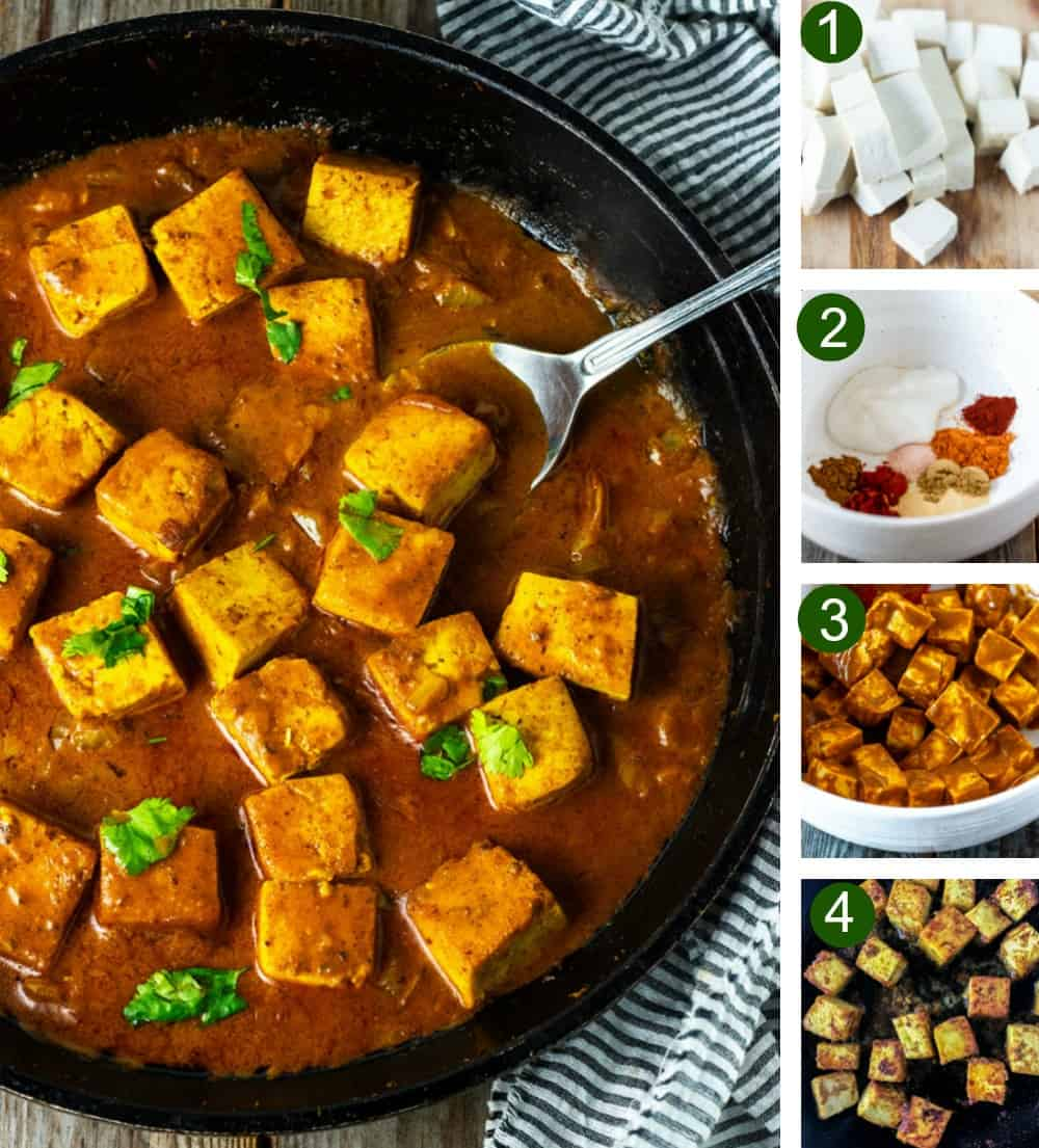Tofu tikka masala steps, tofu preparation, tikka masala marinade, frying seasoned tofu, tikka masala sauce