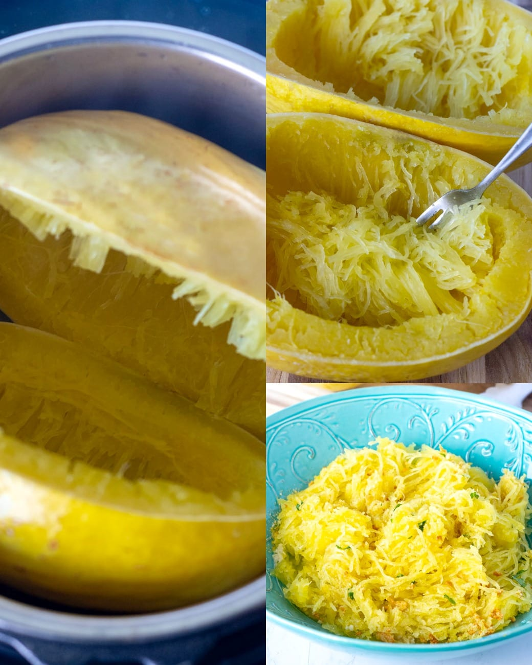 Spaghetti squash cooked in an instant pot with steps,