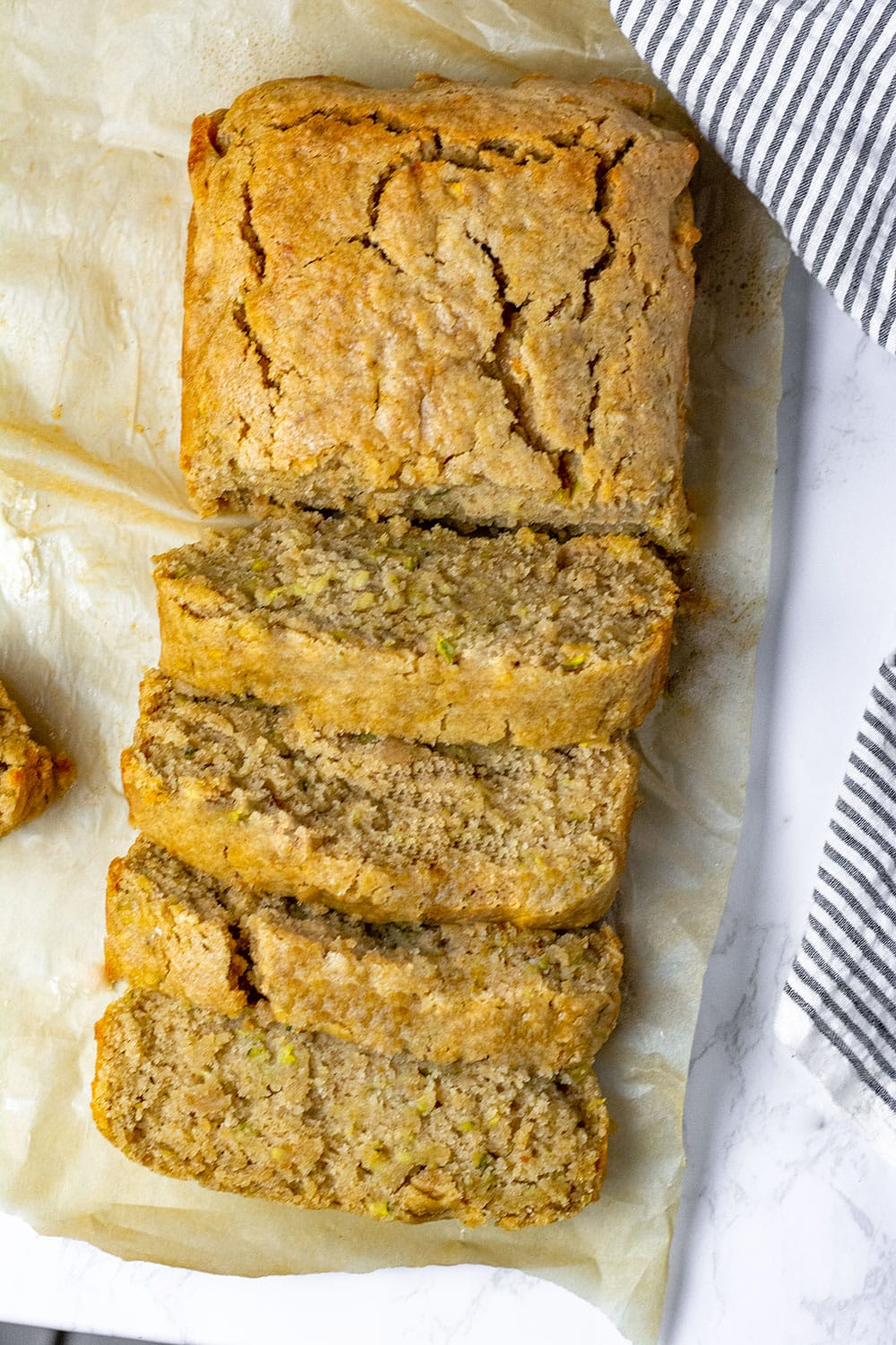 best zucchini bread cut into slices overlay