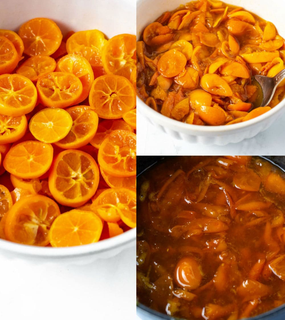 Kumquat marmalade steps from slices, to marinade and cooking in a pot