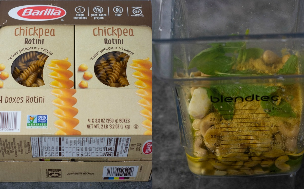 ingredients for creamy pesto pasta, box of pasta and ingredients in blender