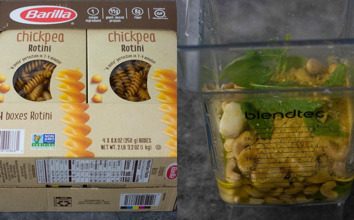 ingredients for creamy pesto pasta, box of pasta and ingredients in blender