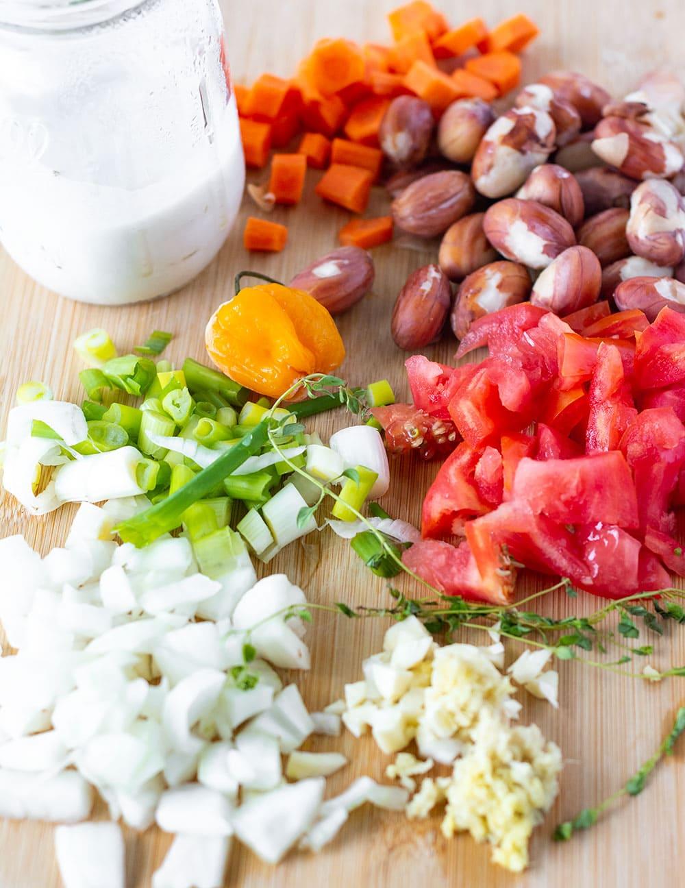 Ingredients for jackfruit seed curry onaa