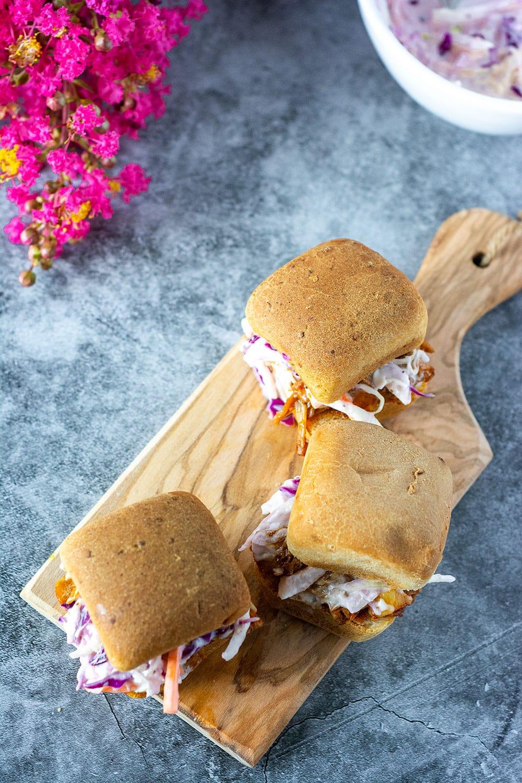 Overlay, bbq jackfruit sandwiches on wooden board