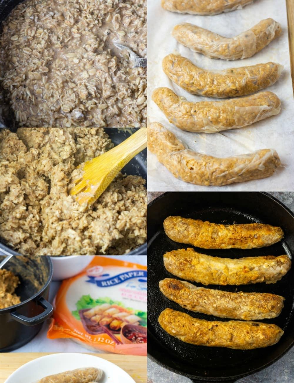 gluten-free vegan sausage steps with ingredients