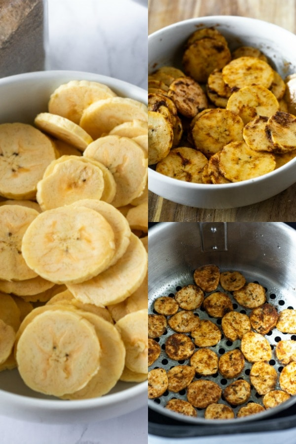 air-fryer plantain chips, steps, from slices, seasoned slices to baked chipe