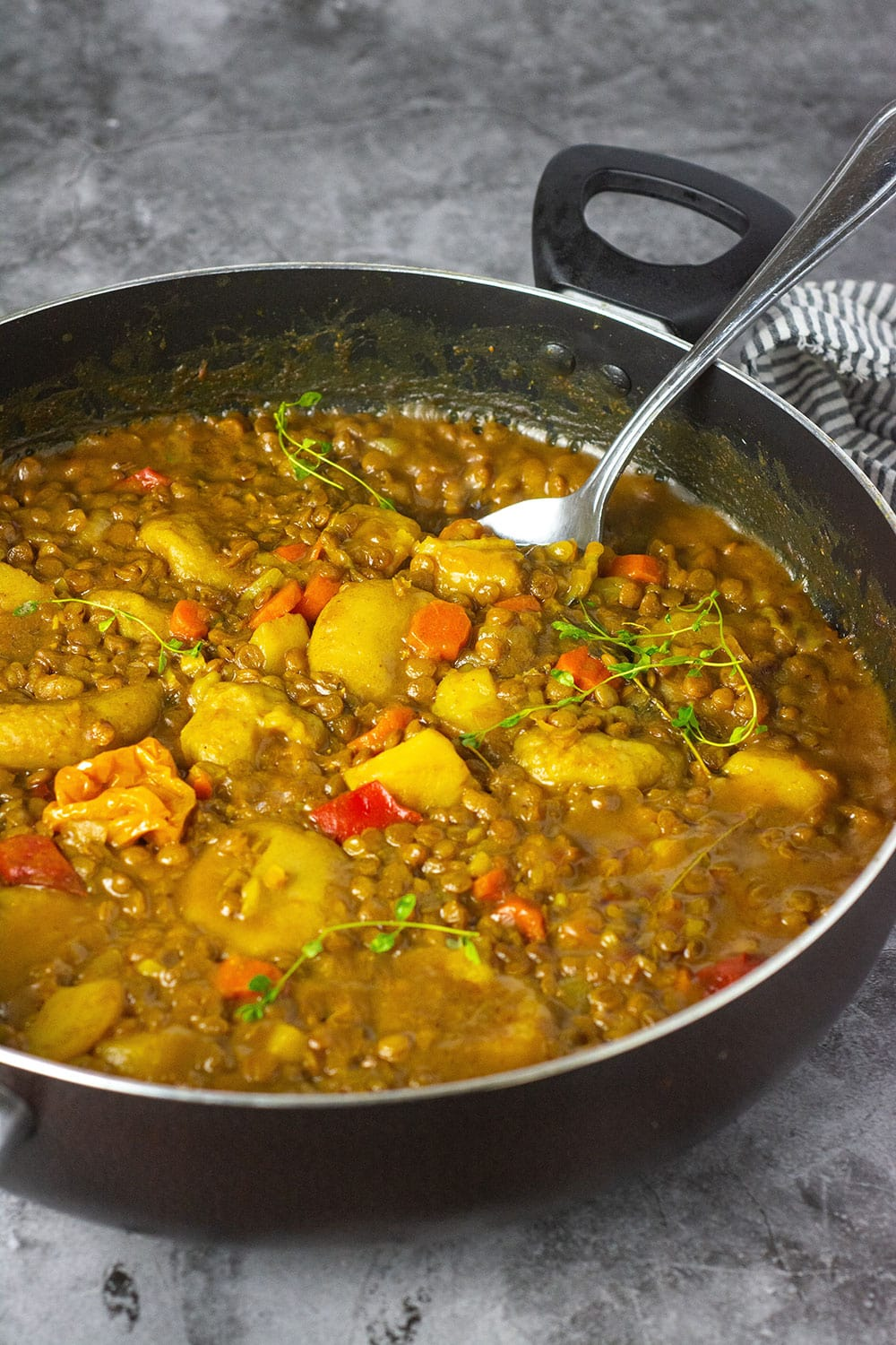 Straight on Creamy Jamaican coconut lentil curry, green lentils cooked in an aromatic coconut curry sauce, seasoned with onion, garlic, thyme, green onions, ginger, Scotch bonnet pepper and loaded with potato, carrot, and dumplings.