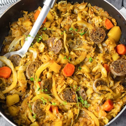 Vegan Cabbage And Sausage