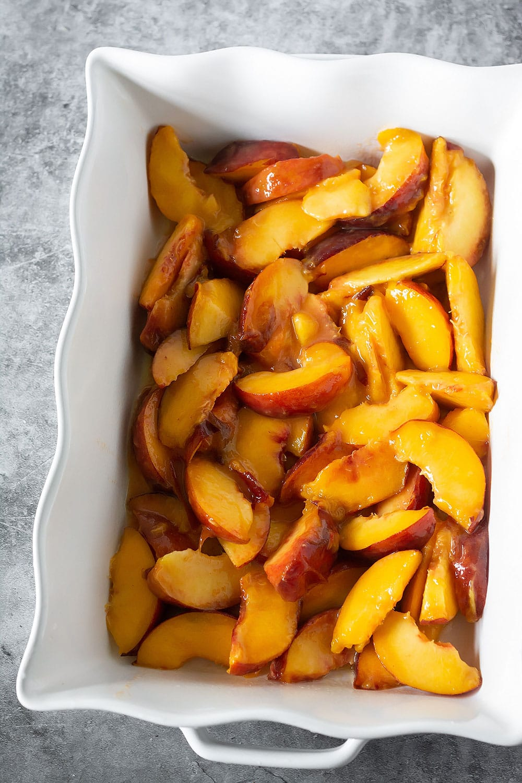 Slices of Peach for vegan peach cobbler