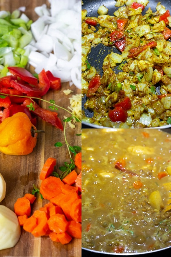 Steps for cooking coconut lentil curry