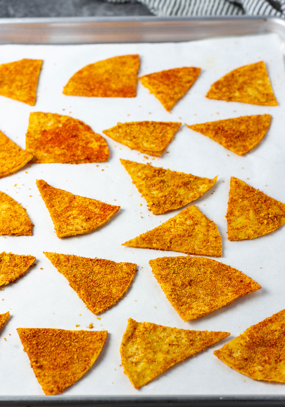 Vegan doritos on a baking sheet