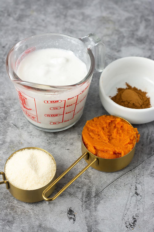 Ingredients for pumpkin caramel sauce
