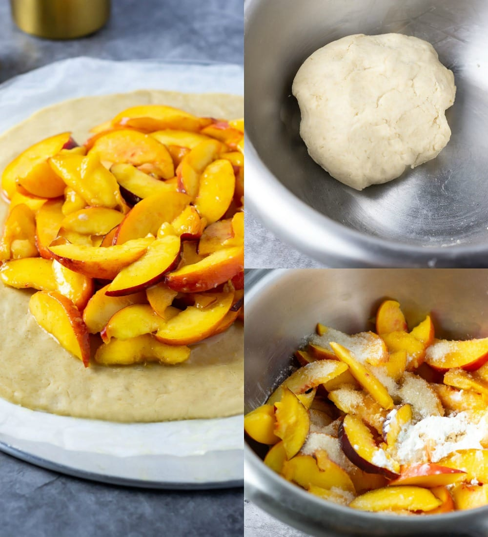 Steps for making peach galette