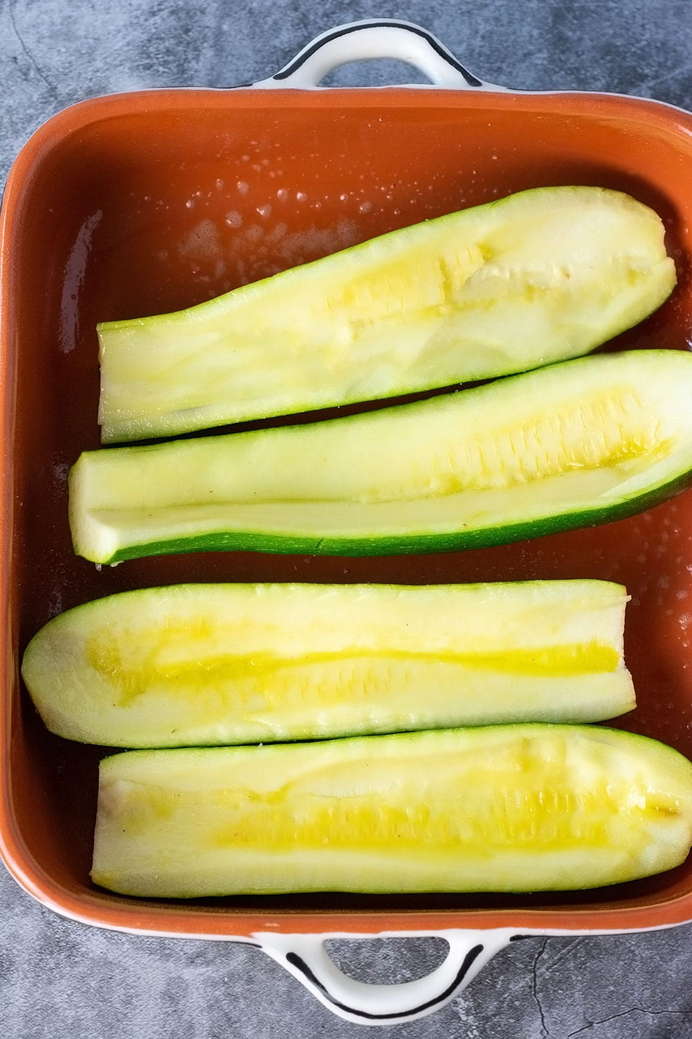 Shell for zucchini boats in a casserole pan