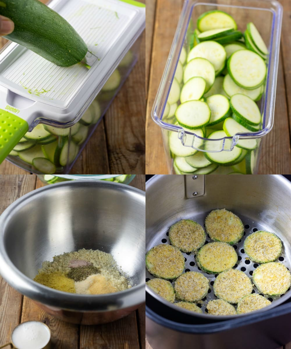 Step by step photos making zucchini chips, photo 1 slicing, photo 2 slices in a container photo 2 breading and almond milk, photo 3 zucchini chips in air fryer