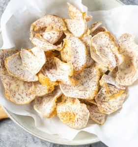 best taro chips in a white bowl