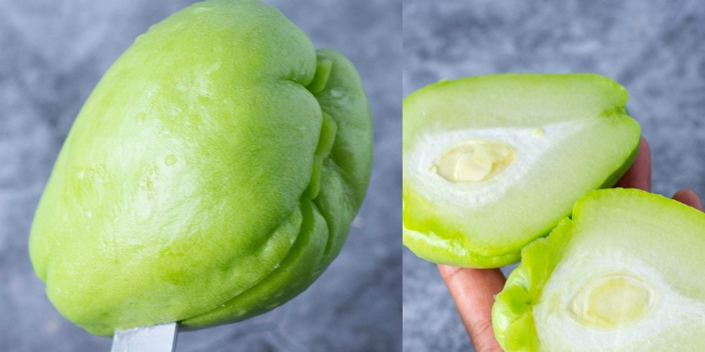 cutting chayote