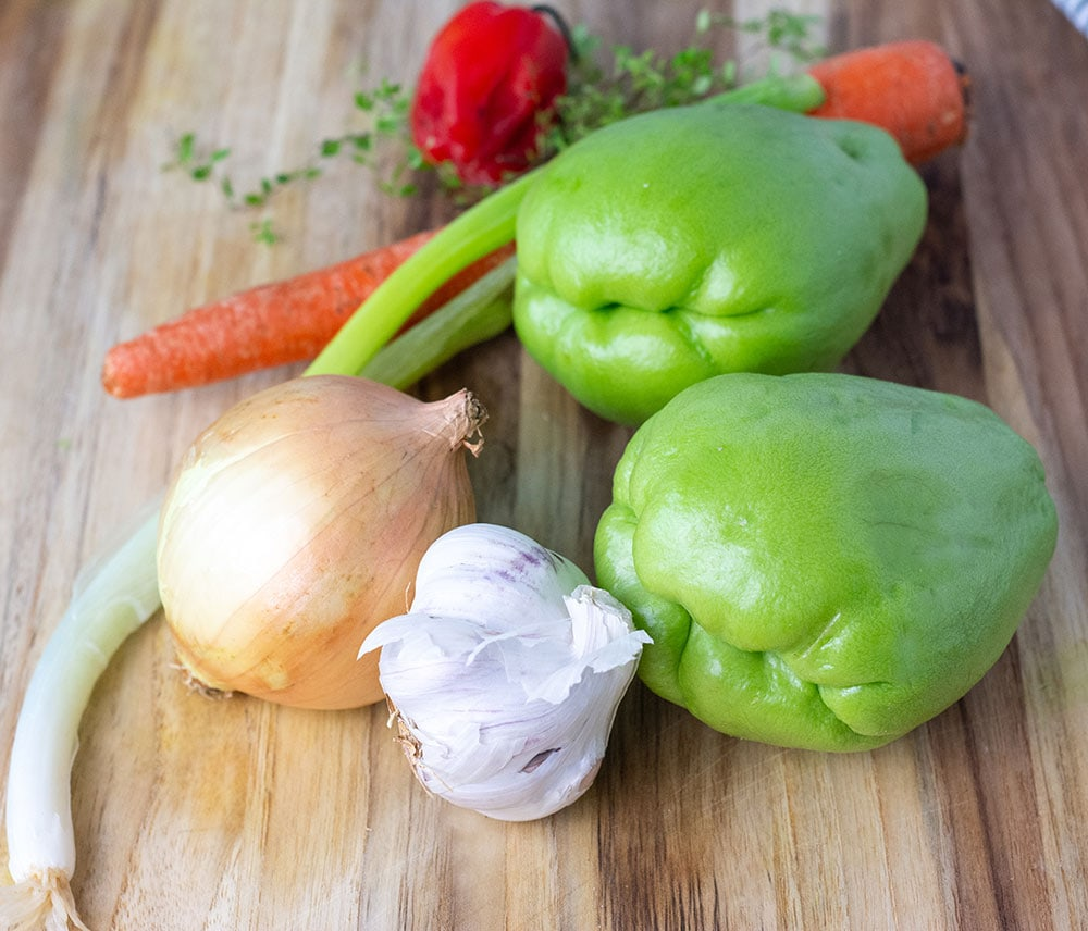 Sauteed Chayote ingredients on a cutting board