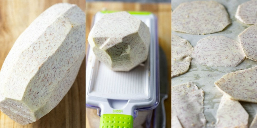 Step by step, how to make taro chips, peeled taro, taro on mandolin, taro slices on baking sheet