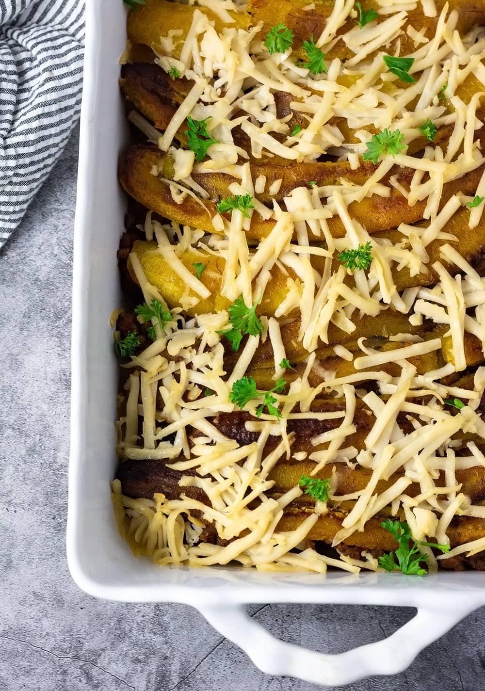 Overlay vegan pastelon plantain lasagna