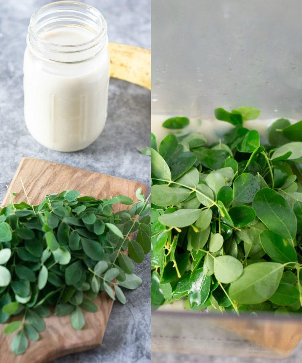 Ingredients for moringa smoothie, moringa leaves, banana and almond milk