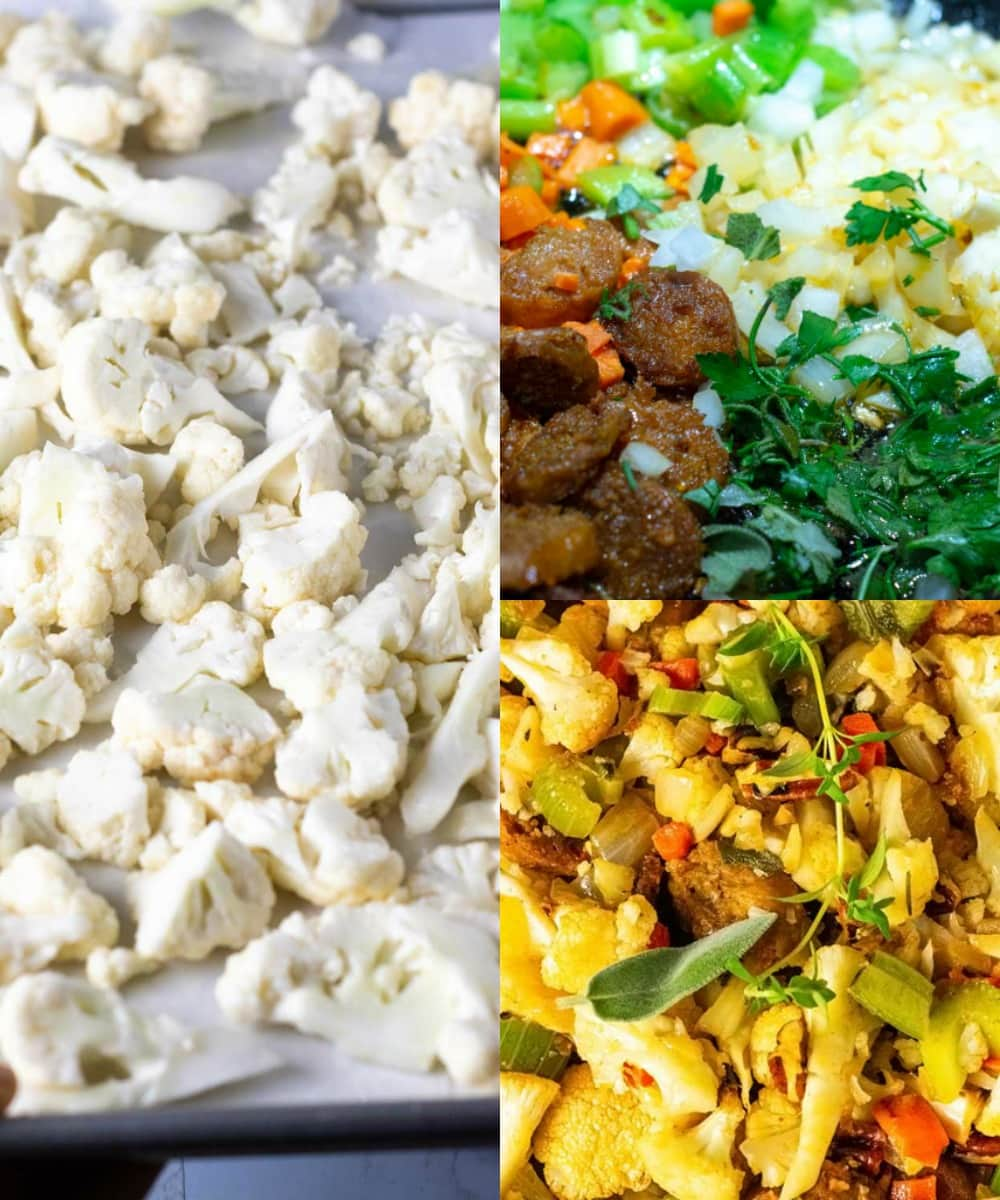 Step by step images of making vegan cauliflower stuffing, shower, cauliflower florets, sauteing sausage, and veggies