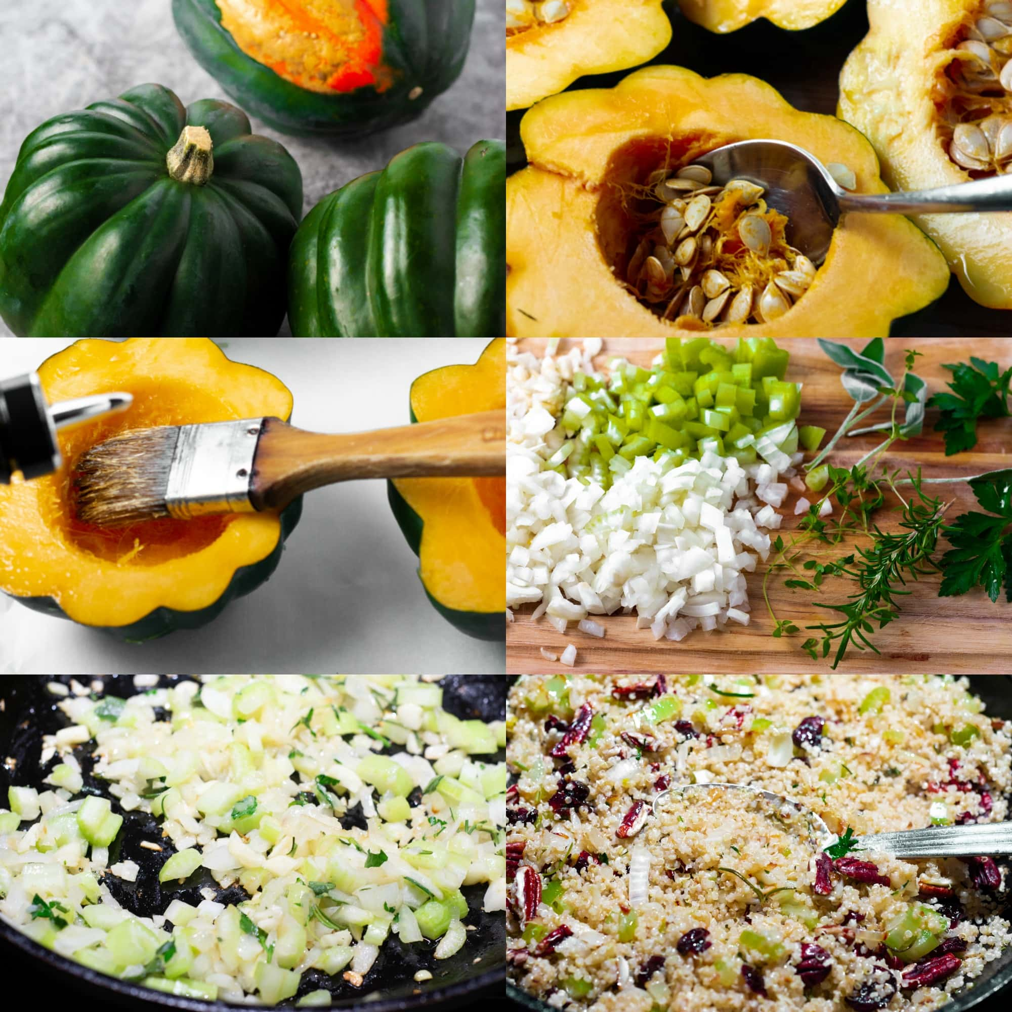 Vegan Baked Acorn Squash process shots