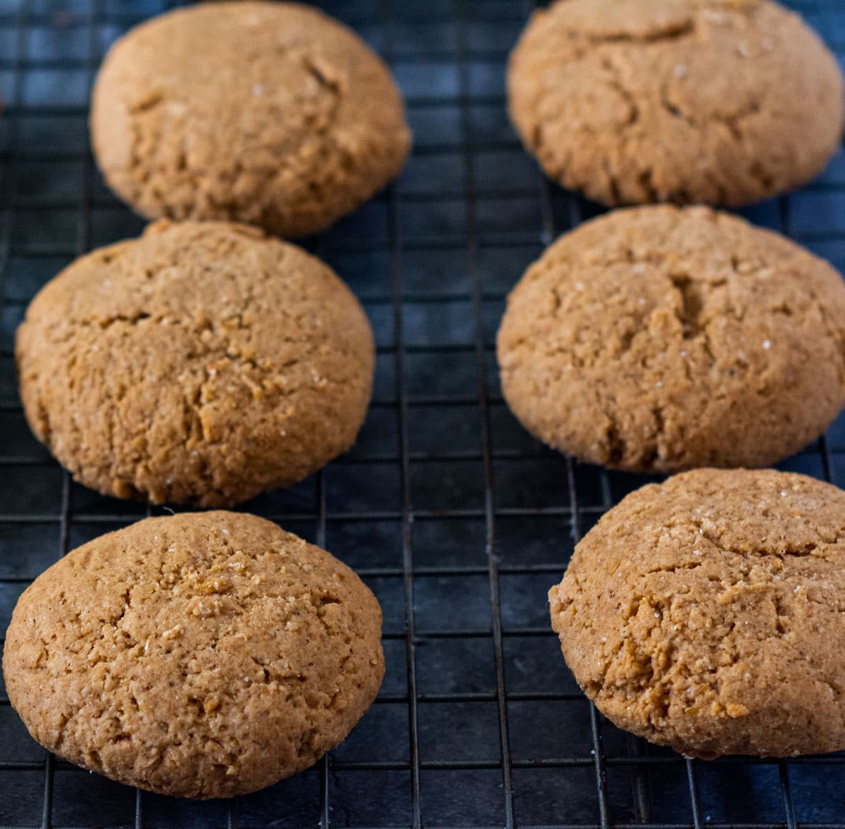 Closeup vegan gingerbread cookies on a dark plate, with a grey napkin on a grey marbled background
