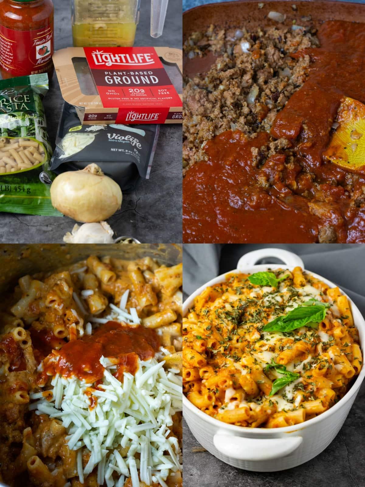 Vegan baked ziti, step by step shots