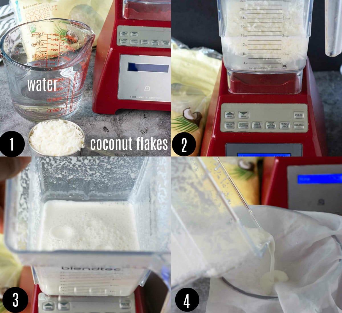Step by step photos showing how to make coconut milk from coconut flakes and water in a blender