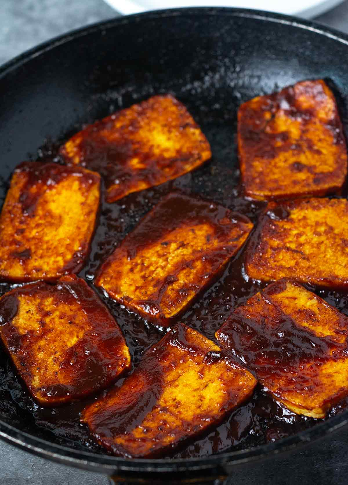 Barbecue tofu in a black skillet