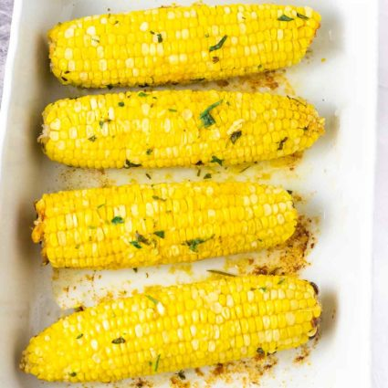 Vegan Baked Corn With Herb Butter