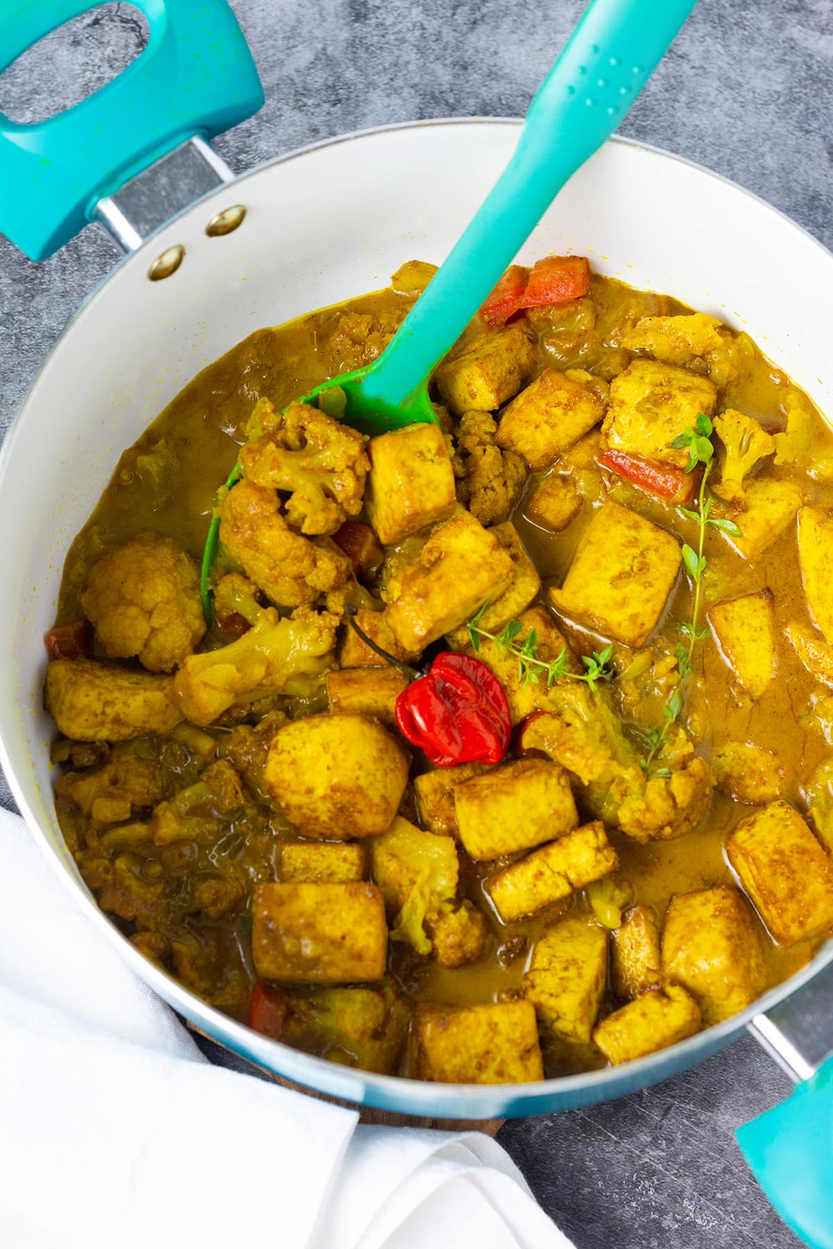 Curry Tofu With Cauliflower