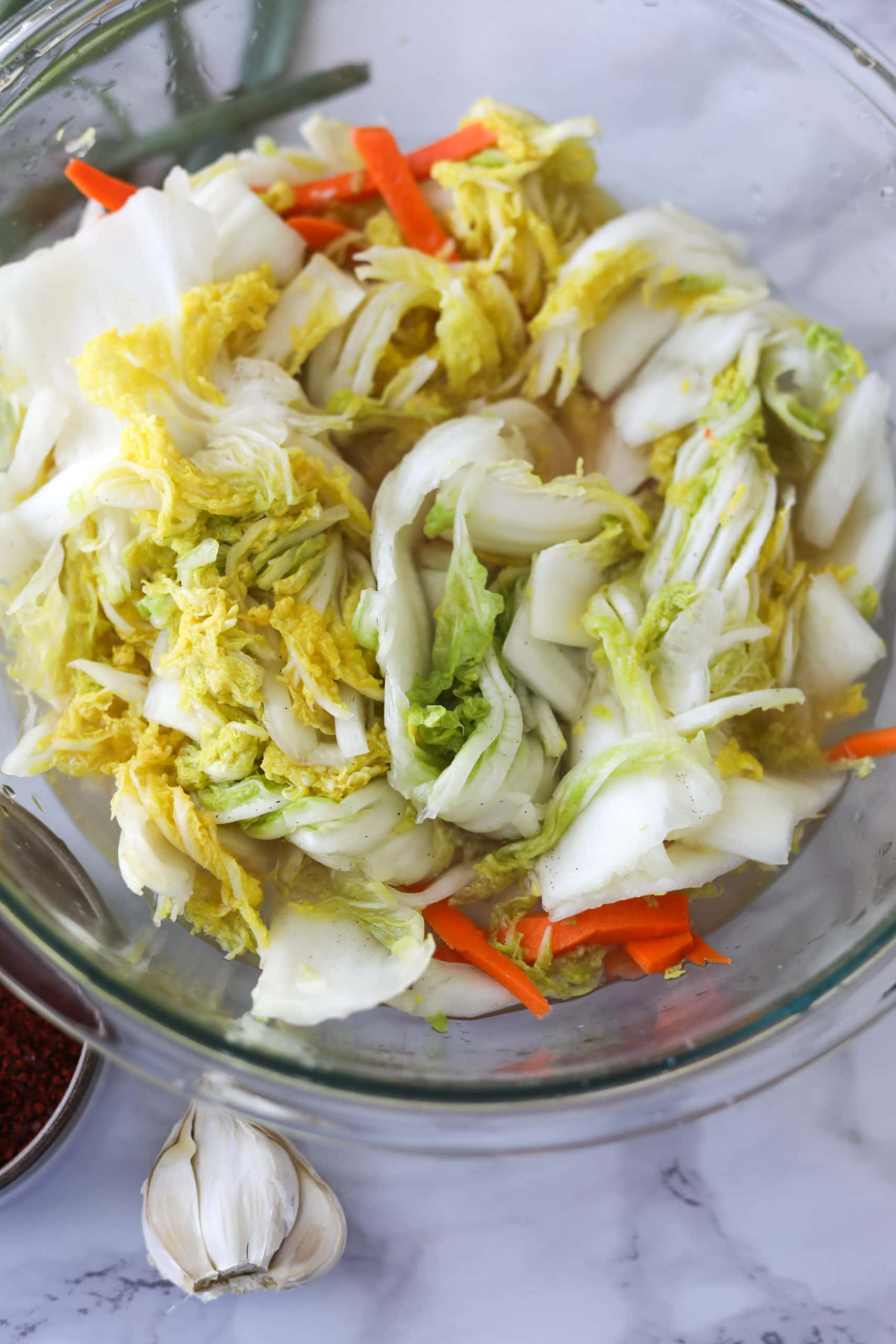 Salt that has been massaged in napa cabbage, carrot and daikon radish