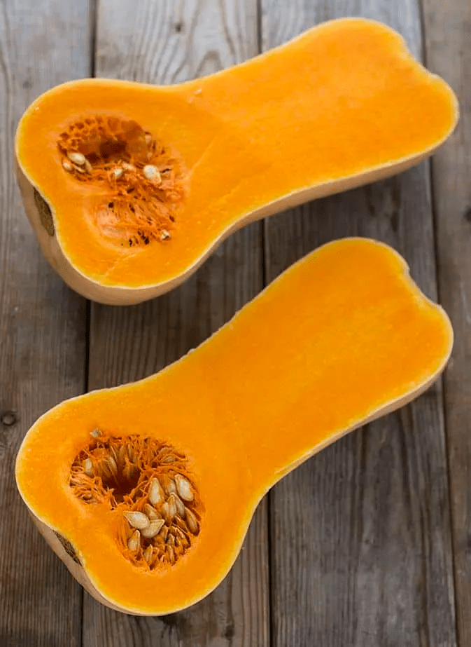 Butternut Squash for roasting on a wooden board