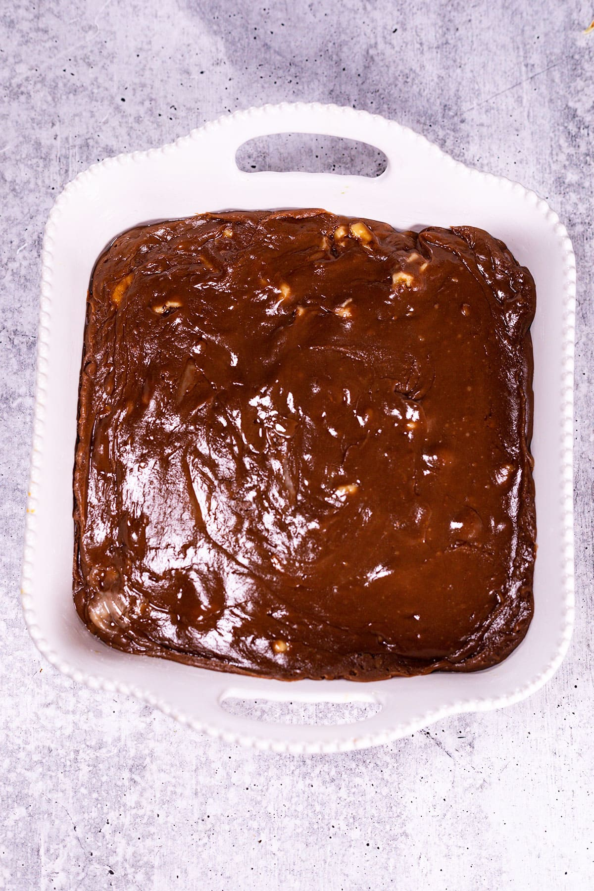 finished fudge in casserole pan