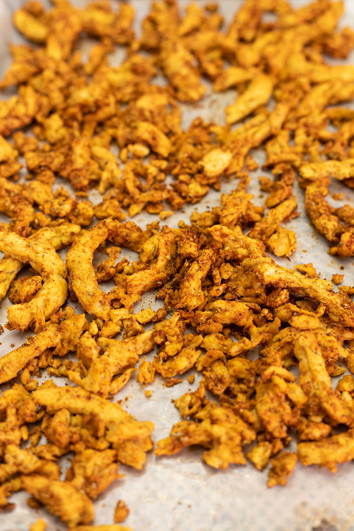Baked soy curls on a baking sheet