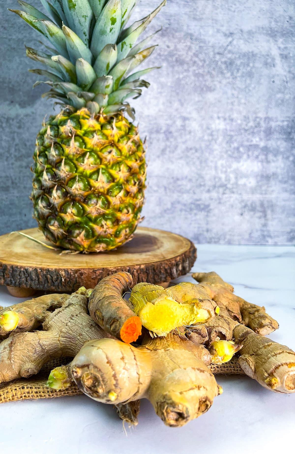 ginger, pineapple, turmeric