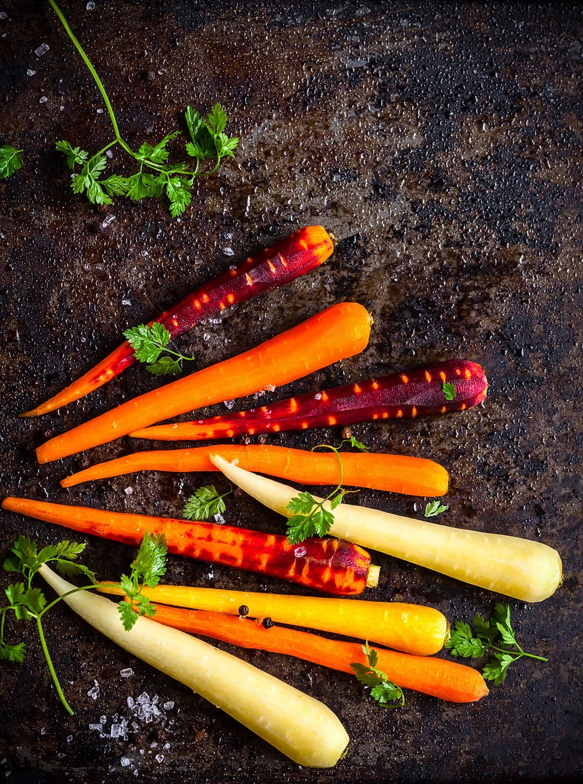 Varieties of carrots including black carrot on a black background