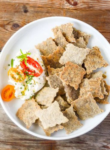 Brown rice crackers and flaxseed crackers